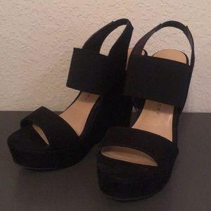 Chinese Laundry Black Wedge Sandal